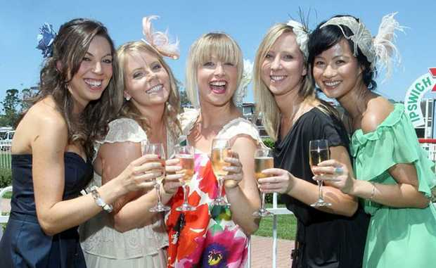 Melbourne cup celebrations at Ipswich Turf Club. Yvette Filatoff, Angela Klein, Sarah Krelle, Sarah Crosdale and Kim Nguyen.