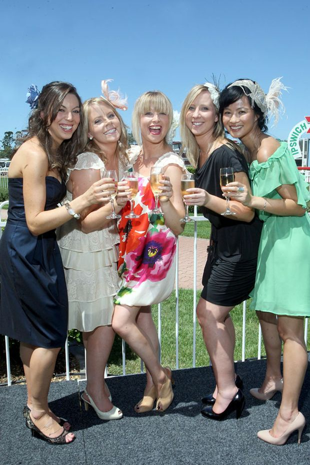Melbourne cup celebrations at Ipswich Turf Club. Yvette Filatoff, Angela Klein, Sarah Krelle, Sarah Crosdale and Kim Nguyen.
