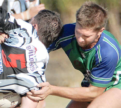 Tyson Martin, right, during his days with the Whitsunday Brahmans. The Cowboys still have an interest in the young player's future.