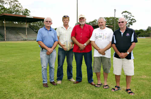 MRU committee members Mike Alexander, Nigel Beard, Phil DeBelle and Geoff Campbell with new coach Peter Crittle, centre.