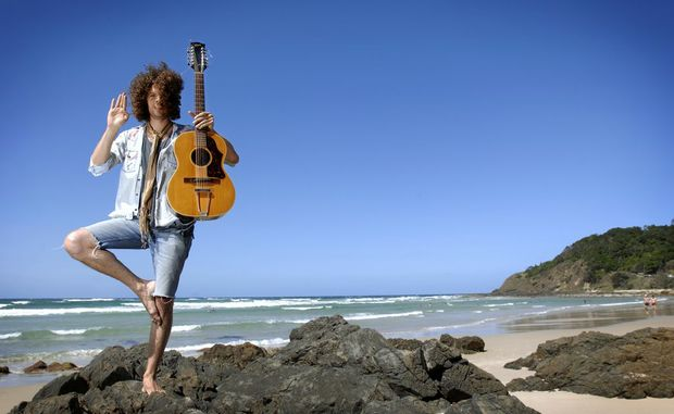 Wolfmother lead singer Andrew Stockdale in Byron Bay in 2009.