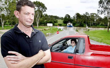 Paul Morton and his mum Dawn had no hope of using the Moggill Ferry yesterday morning.