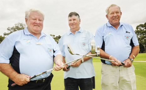 WEEK OF GOLF: Ballina Veteran golfers (from left) president Brian Shelton, captain Lyle McKellar and Week of Golf co-ordinator Paul Selman are set for a veterans Week of Golf in Ballina in July.