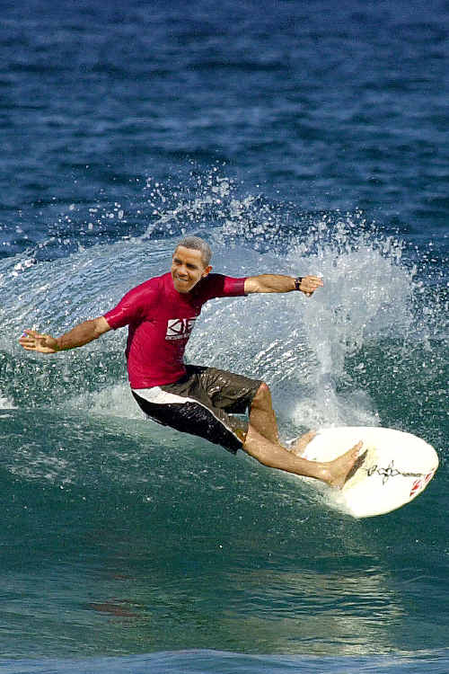 An artist's impression of the surfing leg of President Obama's Northern Rivers tour.