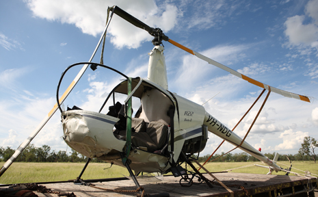 CRASHED CHOPPER: The wreckage of the helicopter was loaded on a trailer and taken to Springsure.