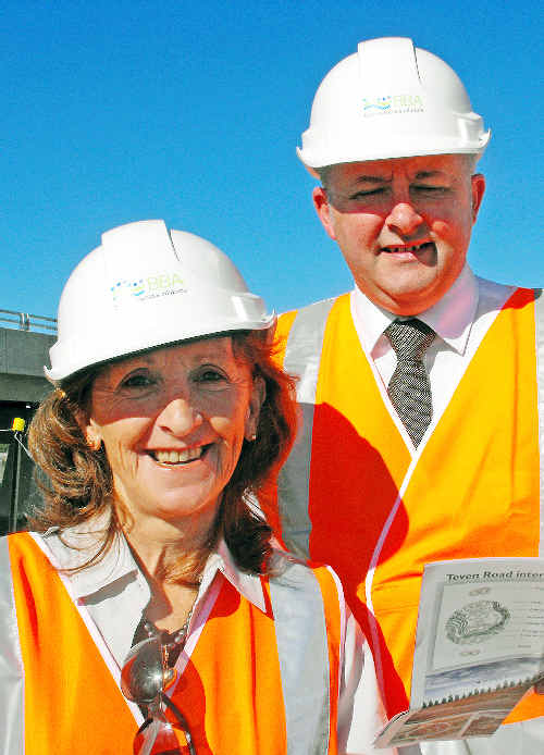 Page MP Janelle Saffin, seen here overseeing work last year on the Ballina Bypass with Federal infrastructure minister Anthony Albanese, has called on the O'Farrell Government to match Federal funding.