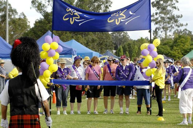 Lismore mayor Jenny Dowell (second from left, purple hat) at the start of the Relay for Life 2010 at Southern Cross University