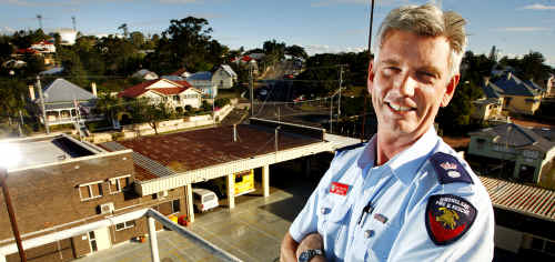 Queensland Fire and Rescue Service Ipswich area director Greg Tomlinson overlooks the ageing Ipswich Fire Station on Limestone Street.