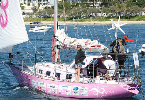 A relaxed Jessica Watson returns to Mooloolaba after her epic around the world voyage.