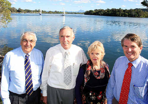 Ready for the poll: Thomas George, Alan and Pauline Hunter and Member for Ballina Don Page.