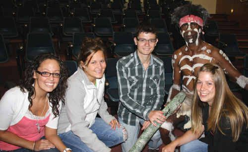 Sahrah Vanderburgh, Courtney Mrowcynski, Erich Montfort and Brittany Hughes meet Joe Gala at the beginning of the University of Southern Queensland's new Butchulla-focused course.