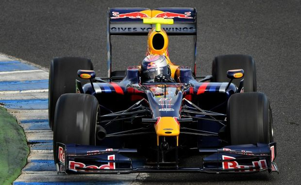 Mark Webber in his Red Bull Racing formula 1 car.