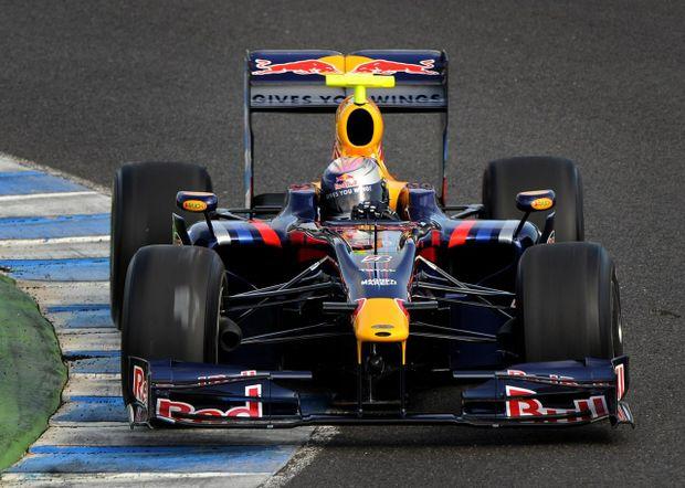 Mark Webber in his Red Bull Racing formula 1 car.