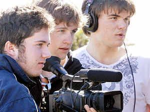 Hard at work filming are (from left) Lonnie Gilroy, director of photography Ben Hunt, sound director Nick Leggat and editor Ian Burrows.