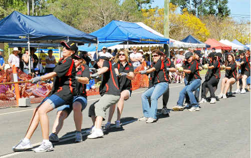 Golding's ladies team put in a massive effort at the Mt Perry dump truck pull.