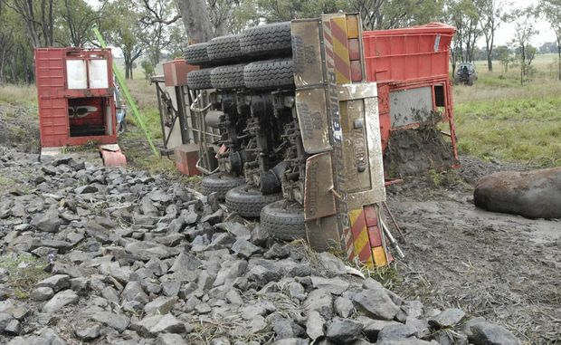 About 20 head of cattle were killed in a B-Triple truck rollover this morning.