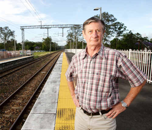 Landsborough Area Community Association treasurer Ken Husband is unhappy about proposed development around the Landsborough railway station.