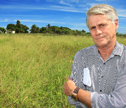 Appalled: Tweed MP Geoff Provest at the previously proposed site for the new police station on Cudgen Road.