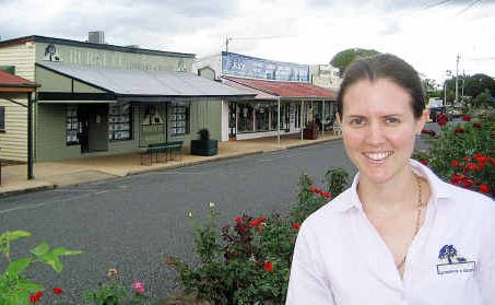 Biggenden real estate agent Jess Hollier, pictured in the CBD, has sold more than $1 million in local properties since August and is anticipating a busy 2011.