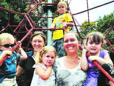 Members of the newly formed Alstonville Community Preschool Incorporated are hoping to receive permission from the Ballina Shire Council next week to go ahead with plans for a new preschool. Pictured are from left, James, 5, and Georgie Ford of Lindendale, Cordelia, 2, Tobias, 5, and Jocelyn Perritt of Alstonville, and Ashlyn Bailey, 4 of Alstonville.