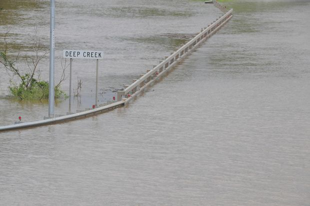 Deep Creek has cut the Bruce Highway at Gympie.