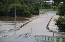 Flood water over the Normanby bridge in Gympie.