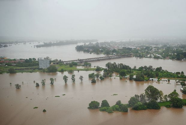 A view of the flooded Clarence River at Grafton at 6pm Wednesday. Photo: ADAM HOURIGAN/The Daily Examiner.