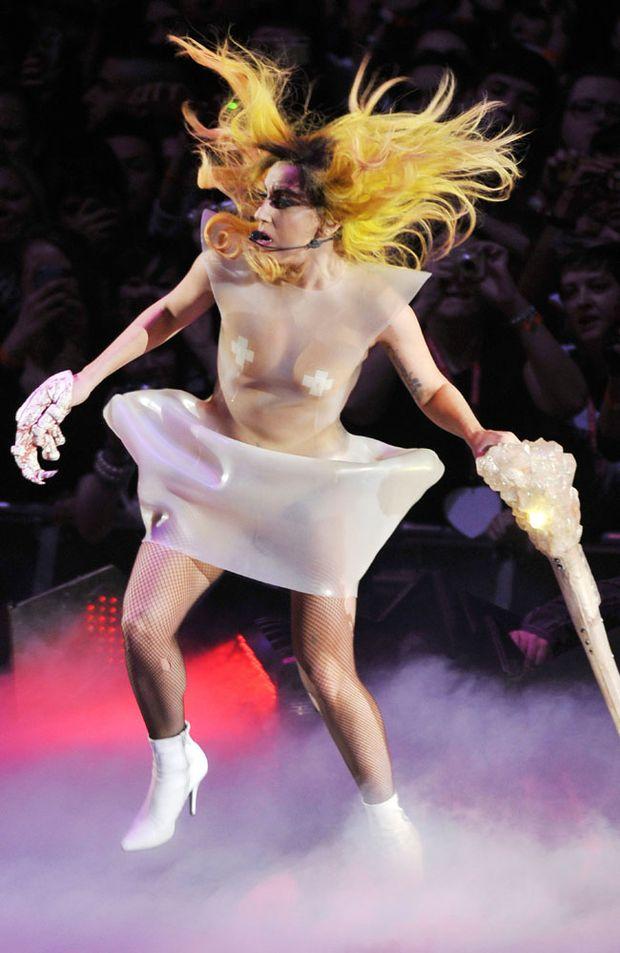 Lady Gaga displays her flamboyant fashion.