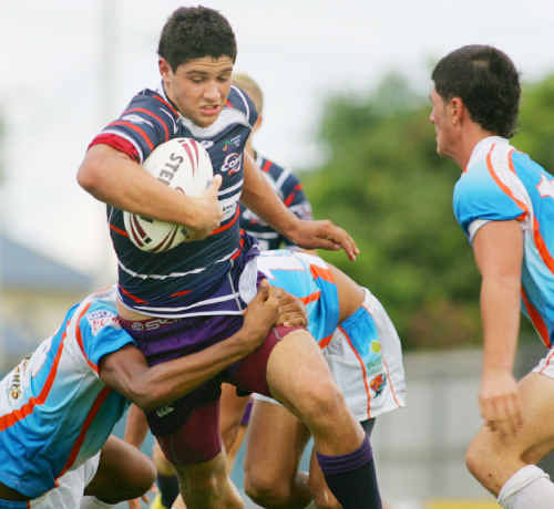Former Rockhampton junior rugby league players and ex-The Cathedral College students Duncan Paia'aua and Harry Pondekas (pictured) kick-off the night's proceedings in the under-18 interstate match for Queensland when they tackle New South Wales at 5.45pm.