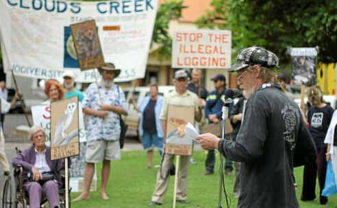 Jim Morrison, of the North Coast Environmental Council, addresses the crowd at a logging protest in Grafton yesterday.