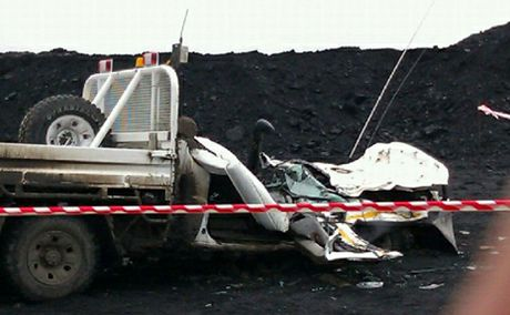 CRUSHED: The cab of a ute was crushed after a mine dump truck  drove over it at Dawson Mine on Friday.
