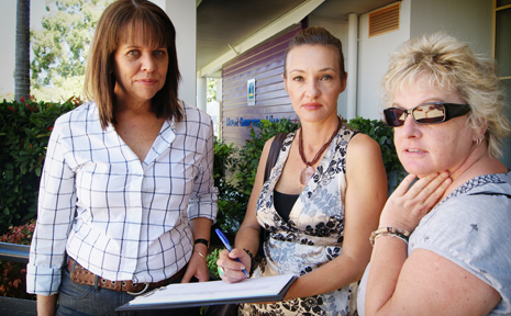 PETITION: Fran Bell with residents Donna Calder and Judy Lavery