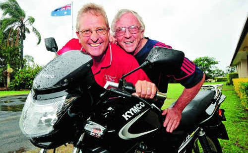 Motorcycle enthusiasts Ian Brooks and Ian McWha are excited to be participating in the Triple B Challenge. Photo: Max Fleet/NewsMail