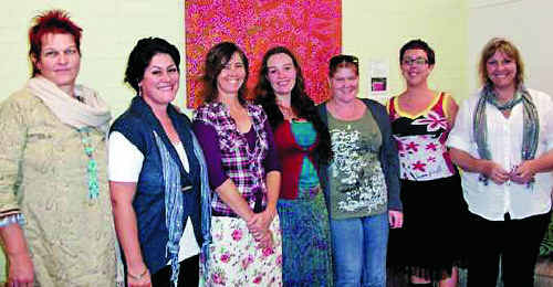 Lismore Women's Resource Centre project officer Danielle Notara (second from right) with volunteers (l-r) Helle, Elena, Joanne, Alana, Mellissa and Karen.