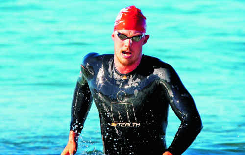Michael Sheil is leading the Queensland Ocean Swim Series heading into the final race this weekend.
