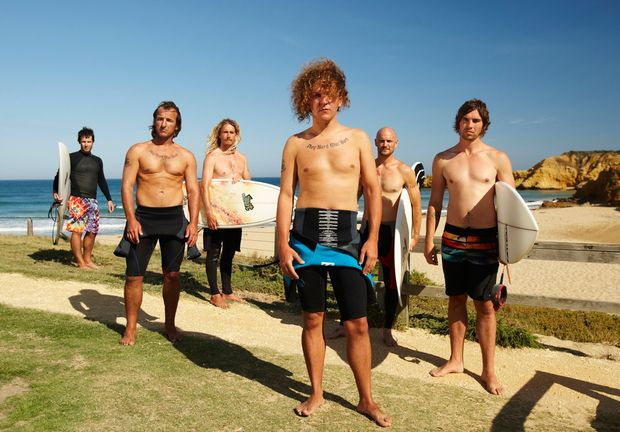 Chris Lilley as pro surfer turned Mucca Mad Boys gang leader Blake Oakfield in Angry Boys.