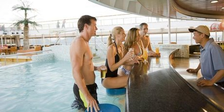 The swim-up bar on the Pacific Pearl Cruise Ship.
