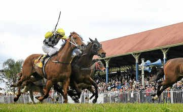 Jerezana races clear of Falco Star and Motspur to win the Ramornie Handicap at Grafton.