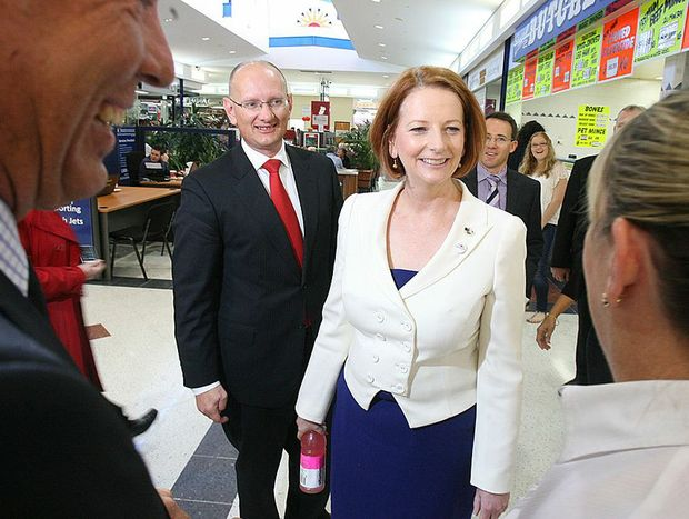 Prime Minister Julia Gillard chats to members of the public in Ipswich.