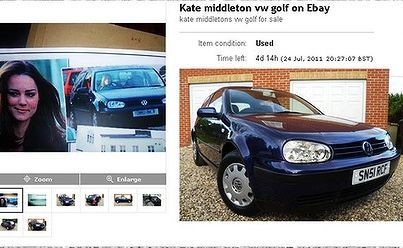 Duchess of Cambridge's 2001 model VW Golf expected to attract more than $45,000.