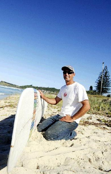 Rubber Soul Boarding Company owner Ben Dickens at his home break at Lennox Head.