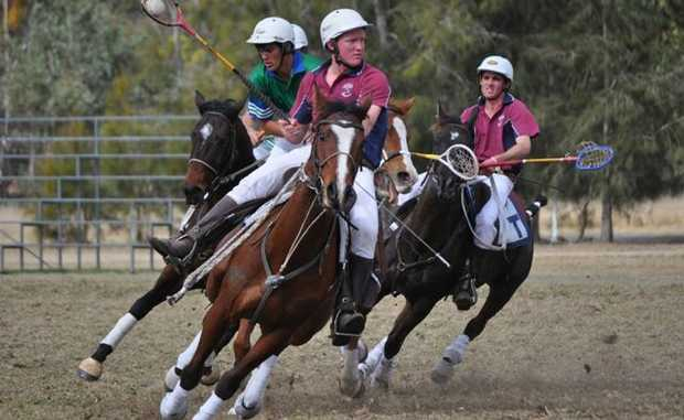 Polocrosse action from at Warwick's Morgan Park.