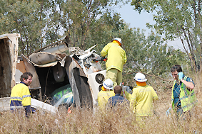 A man was airlifted from a truck rollover about 18km west of Blackwater.