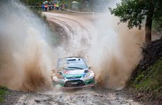 Finnish Ford driver Mikko Hirvonen edges clear of the field after a destructive day of rallying action.