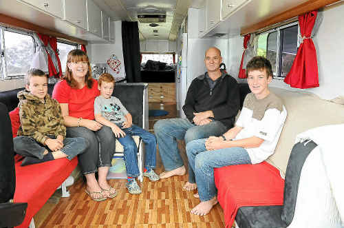 The Wood family before setting off on their adventure around Australia. David and Lisa with sons Kyle, Cameron and Nicholas in their Bedford Comair motorhome.
