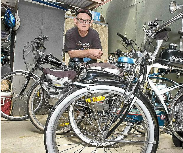 John Foss, AKA Giacomo Fosscati, of Ocean Shores with his hand-made motorised bicycles.