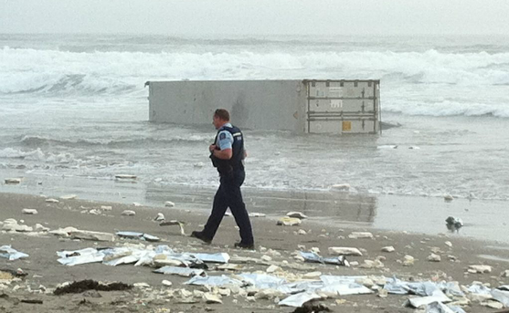 Containers from the stricken ship are washing up on Mount Maunganui beaches.