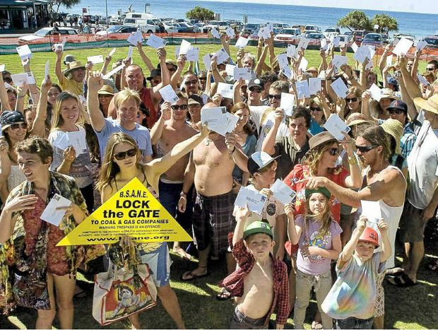About 2000 people turned out at Byron Bay to protest against coal seam gas mining, while 1000 letters were posted to Premier Barry O'Farrell.