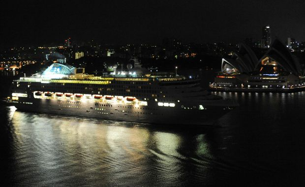 Sea Princess was welcomed into Sydney Harbour with a traditional water cannon display.