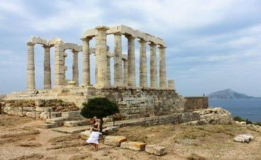 The Temple of Poseidon, at Cape Sounion, is still magnificent - despite taking a battering over the centuries.